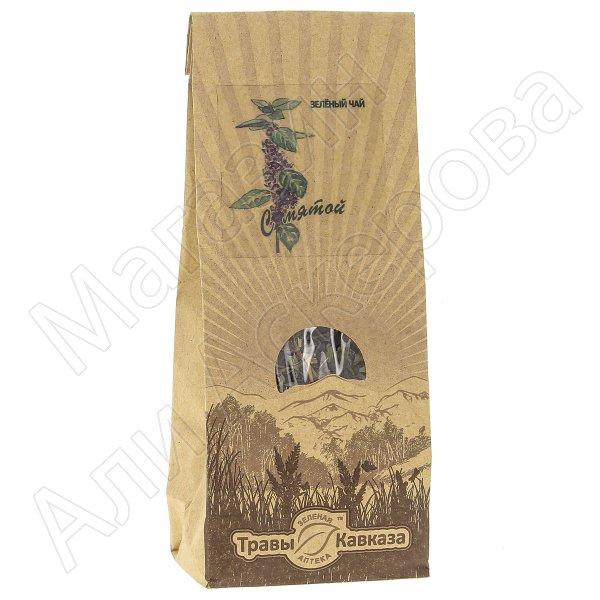Натуральный чай зеленый байховый крупнолистовой с добавлением листа мяты перечной